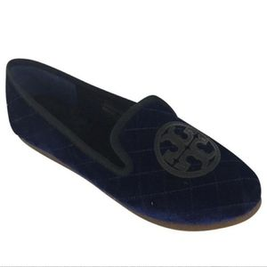 Tory Burch size 7 quilted Billy blue slippers
